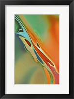 Framed Organic Abstract Orange And Olive Green