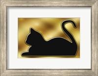 Framed Cat on Gold Background