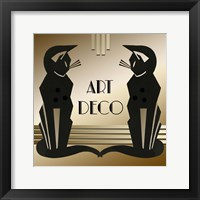Framed Art Deco Cats 1