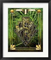 Framed Emerald Green Chevron