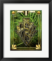 Framed Emerald Green Chevron
