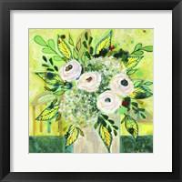 Framed Florals On Green 1