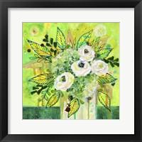 Framed Florals On Green 2