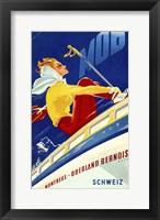 Framed 1940s Swiss Rail Ski Travel poster