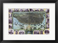 Framed Birds Eye Map Of St Louis Mo 1896