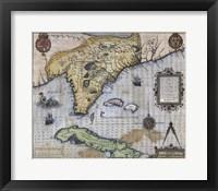 Framed French Map Of Florida - Floridae Americae Provinciae 1564
