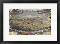 Framed Illustrated Map Of Phoenix With Legend 1885