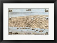 Framed Map Of Galveston Texas 1871