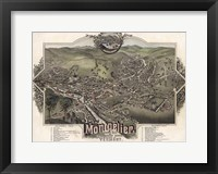 Framed Map Of Montpelier Vt With Reference Table 1884