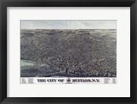 Framed Map Of The City Of Buffalo Ny 1880