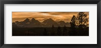 Framed Sunset In The Sawtooth Mountains