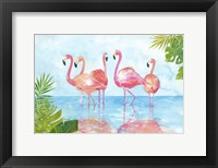 Framed Flamingos And Leaves