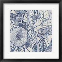 Framed Indigo Leaves And Florals 2
