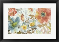 Framed Peonies And Butterfly
