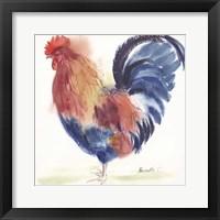 Framed Blue Rooster