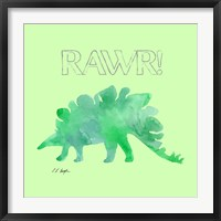 Framed Green Stegosaurus - Green Background