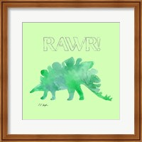 Framed Green Stegosaurus - Green Background
