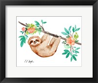 Framed Little Brown Sloth with Flowers