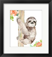 Framed Tropical Sloth with Peach Flowers
