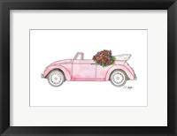 Framed Pink Car with Roses