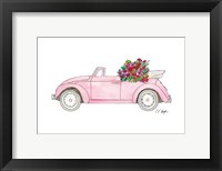 Framed Pink Car with Tropical Flowers