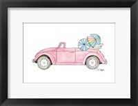 Framed Pink Car with Umbrellas