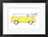 Framed Yellow Van with Pink and Green Surfboards