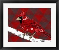 Framed Cardinal Hello Red
