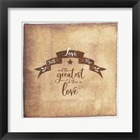 Framed Faith Hope Love Banner