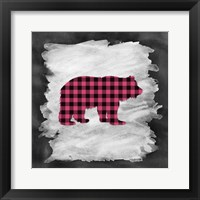 Pink Plaid Bear Framed Print
