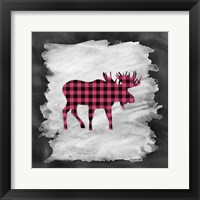 Pink Plaid Moose Framed Print