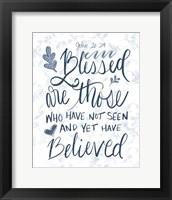 Framed John 20:29 Handlettered