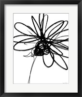 Framed Black Ink Flower III