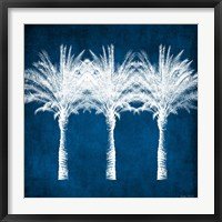 Framed Indigo and White Palm Trees