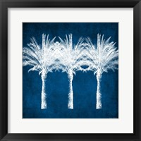 Framed Indigo and White Palm Trees