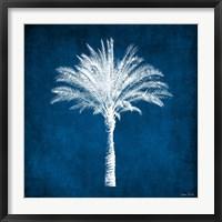 Framed Single Indigo and White Palm Tree