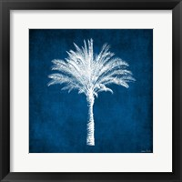 Framed Single Indigo and White Palm Tree