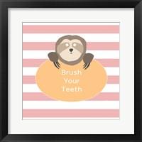 Framed Brush Your Teeth Sloth
