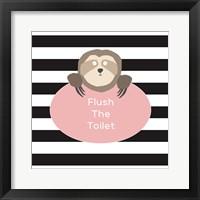 Framed Flush the Toilet Sloth