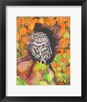 Framed Owl with Asian Lanterns