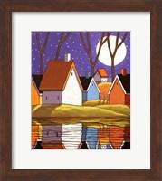Framed Purple Sky and Stars Cottages
