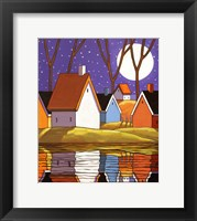 Framed Purple Sky and Stars Cottages