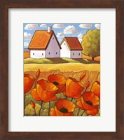 Framed Red Flower Fields Landscape