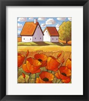 Framed Red Flower Fields Landscape