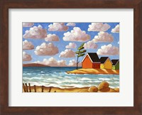 Framed Waves and Colorful Cabins Beach