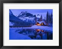 Framed Mountain Lodge at Dusk
