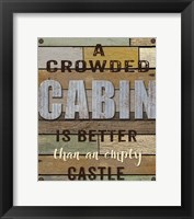 Framed Crowded Cabin Wood Sign