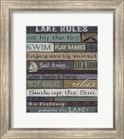 Framed Lake Rules On Wood