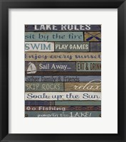 Framed Lake Rules On Wood