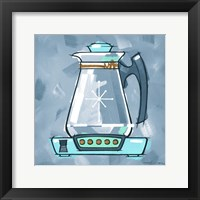 Framed Blue On Blue Coffee Pot